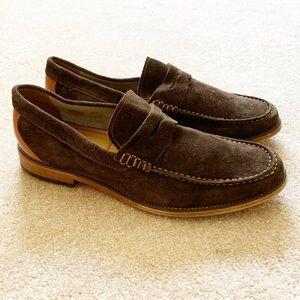 Men's brown suede & camel leather heel loafers